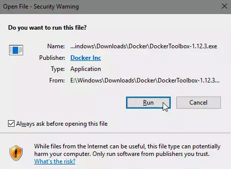 اجرای فایل Docker Toolbox